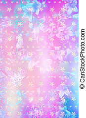 Beautiful artistic background with flowers and snowflakes pattern