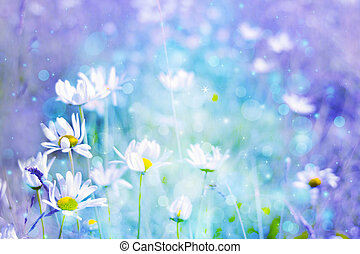 Beautiful artistic background with meadow of daisies in...
