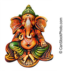 beautiful, artistic, & colorful ganesha idol who is one of the most popular hindu gods isolated on white with clipping mask. Lord ganesha is also known as vinayaka, vigneshwara, omkara, ganapati, etc.