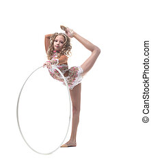 Beautiful artistic gymnast isolated on white
