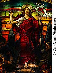 Jesus - Beautiful artistic stained glass portrait of Jesus