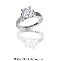 Beautiful Ascher Cut diamond engagement wedding ring