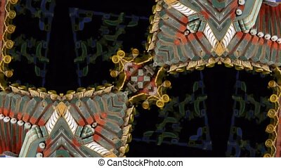 Beautiful Asia Chinese Oriental traditional pattern. four consecutive fractal kaleidoscope art.