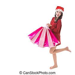 Beautiful Asia woman christmas girl happy
