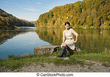 beautiful asian at the river