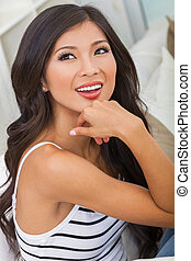 Beautiful Asian Chinese Woman Girl at Home