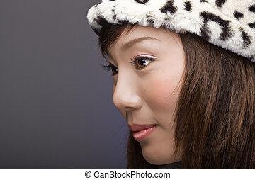 beautiful asian girl in profile