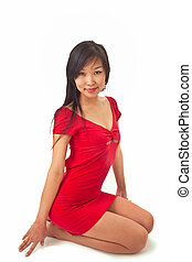 beautiful asian girl in red dress