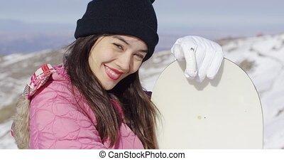 Beautiful asian girl with snowboard - Beautiful asian girl...
