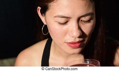 Beautiful Asian Hispanic middle age woman wearing black...