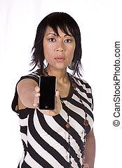 Beautiful Asian-Hispanic Woman Holding a Cell Phone -...