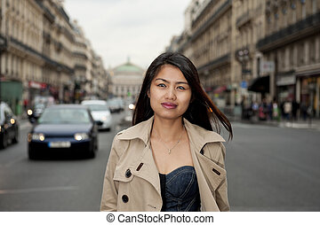 beautiful asian in paris