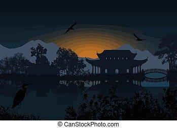 Beautiful asian landscape near water on white background,...