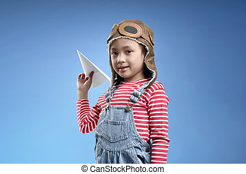 Beautiful asian little girl dreams of becoming a pilot