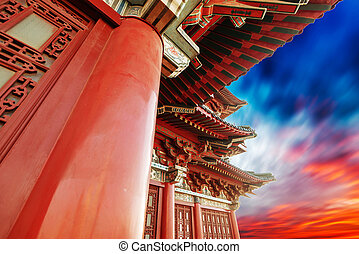 Beautiful asian temple on the blue sky background