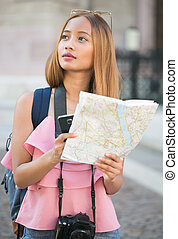 Beautiful asian tourist woman.