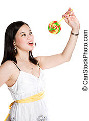 Beautiful asian woman and lollipop