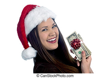 A beautiful Asian woman in mer late teens showing off her Christmas present of cash.