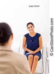 asian woman doing job interview