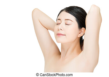 Beautiful asian woman face with sunshine hand gesture, white background