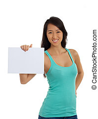 Beautiful Asian Woman holding blank paper