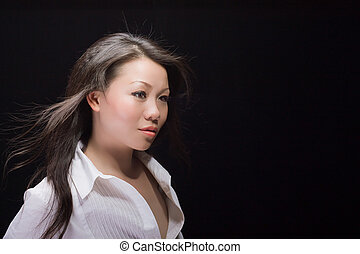beautiful asian woman in white