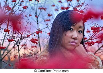 Beautiful asian woman near berry