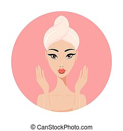Beautiful Asian woman Perfect face skin Beauty Spa Skincare concept
