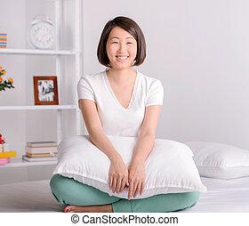 Beautiful asian woman - Portrait of Asian female sitting on...