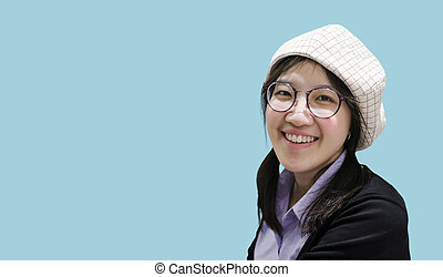 Beautiful asian woman smiling with copy space