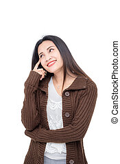Beautiful asian woman thinking and smiles over white
