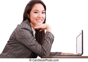 beautiful asian woman using her laptop
