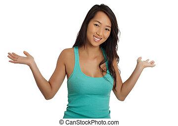Beautiful Asian woman welcoming