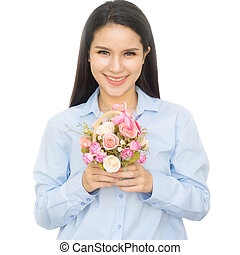 Beautiful asian woman with a flower basket on  background.