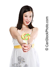 Beautiful asian woman with lollipop
