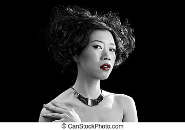 Asian woman with red lips