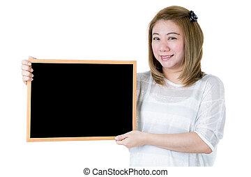 Beautiful asian women asian hold wood board