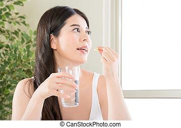 beautiful asian women healthy diet eating nutritional...