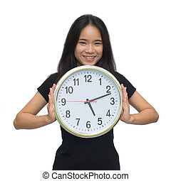 Beautiful asian young woman holding a clock isolated on white background with clipping path