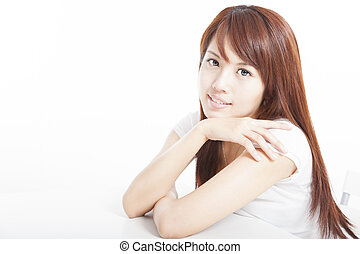 beautiful asian young woman sitting on chair isolated