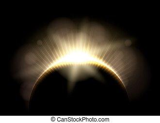 Beautiful astronomic solar moon eclipse, lunar earth total...