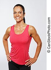 Beautiful athlete woman after training.