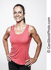 Beautiful athletic woman in sport club