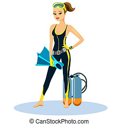 Beautiful athletic young scuba diver wearing a wetsuit with...