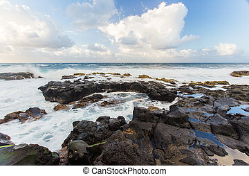Beautiful Atlantic ocean coast with rocks and stones - Tenerife, Canary islands, Spain