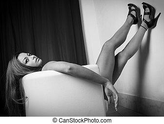 beautiful attractive female body in erotic pose