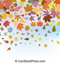 Beautiful autum leaves against sky. EPS 8