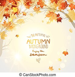 Beautiful autumn background with branches