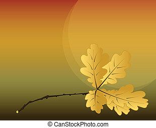 beautiful autumn background with many oak leaf