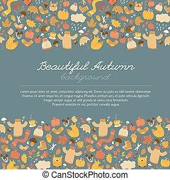 Beautiful Autumn Doodle Background